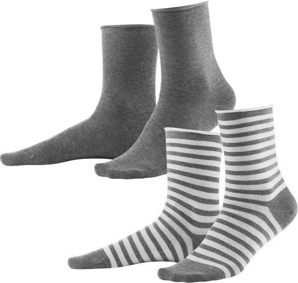Damen-Strümpfe aus Biobaumwolle 2er-Pack - grey melange/white - Bild 1