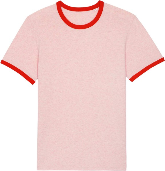 Retro T-Shirt aus Bio-Baumwolle - cream heather pink/bright red