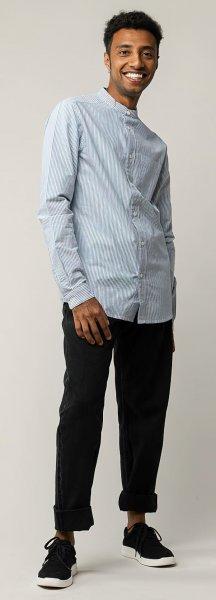 Fairtrade Hemd Amit aus Bio-Baumwolle - blue stripes