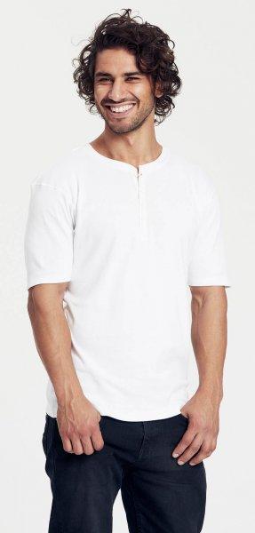 Organic Short Sleeve Granddad T-Shirt Fairtrade weiss - Bild 1