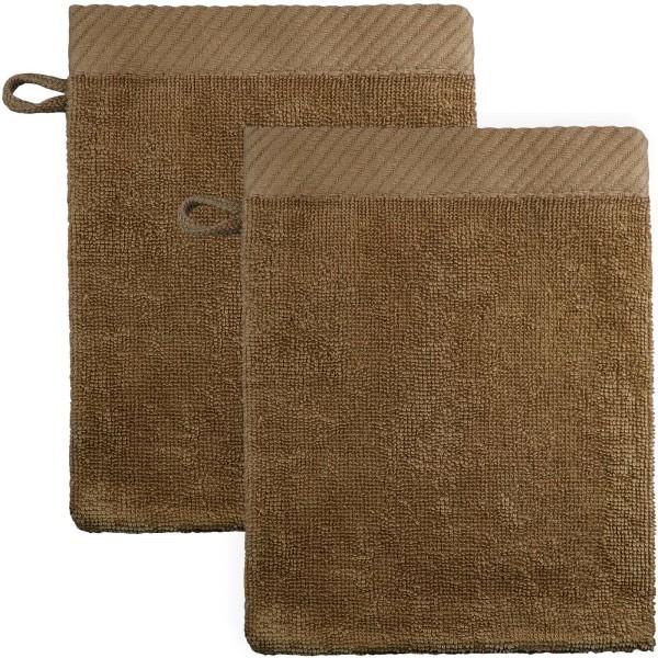 Waschhandschuhe aus Bio-Baumwolle 21x15cm - mocha - 2er-Pack