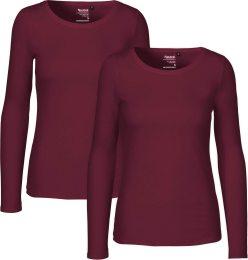 ee054858ef7569 Langarm-Shirt Frauen bordeaux Doppelpack GOTS 81050