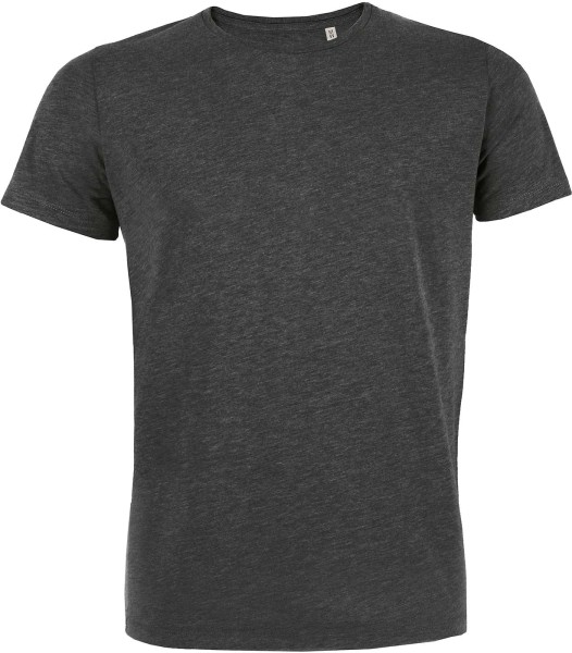 Herren T-Shirt fitted - dunkelgrau-meliertes slim-fit Shirt