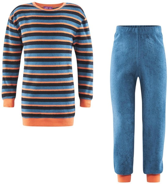 Pyjama Kids bio Streifen blau GOTS Living Crafts