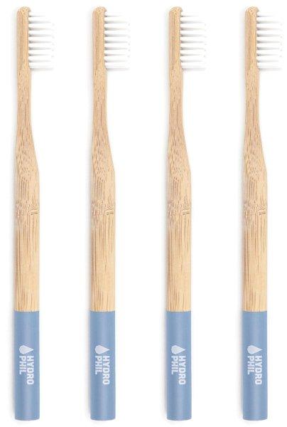Zahnbürste aus Bambus - mittelweich - 4er-Pack - hellblau