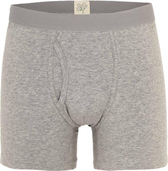 Boxer-Shorts mit Eingriff grau-meliert aus Bio-Baumwolle