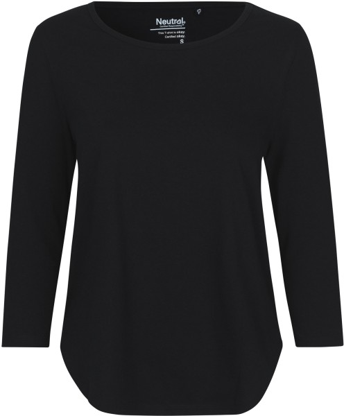 3/4 Sleeve T-Shirt aus Fairtrade Bio-Baumwolle - black