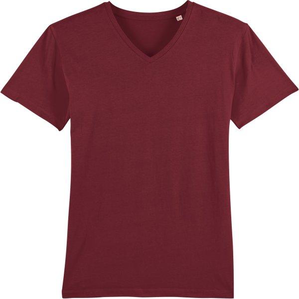 T-Shirt mit V-Ausschnitt aus Bio-Baumwolle - burgundy