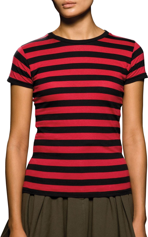 frauen t shirt gestreift in schwarz rot aus baumwollstoff. Black Bedroom Furniture Sets. Home Design Ideas