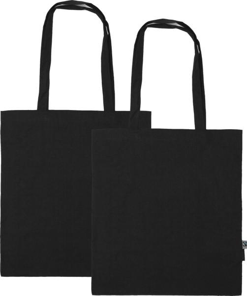Doppelpack - Organic Shopping Bag lange Henkel Fairtrade schwarz