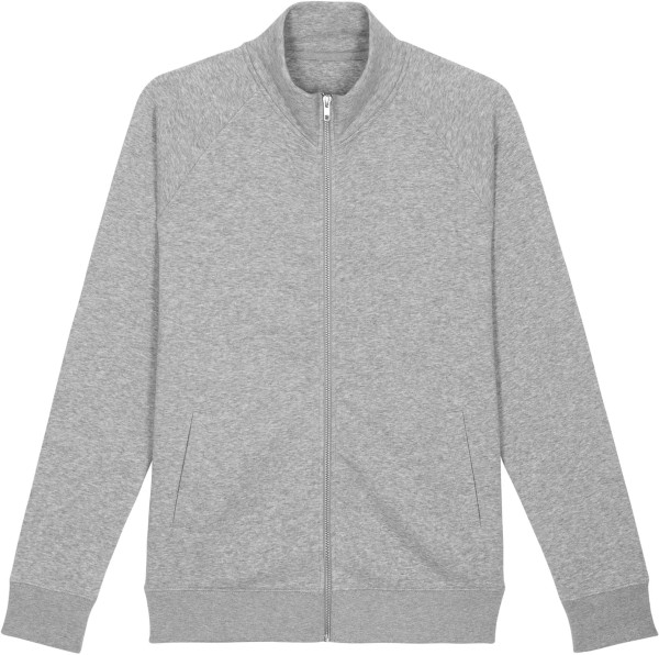 Sweatjacke ohne Kapuze aus Bio-Baumwolle - heather grey