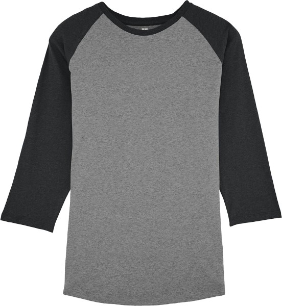 Retro-Shirt Bio-Baumwolle - mid heather grey/dark heather grey