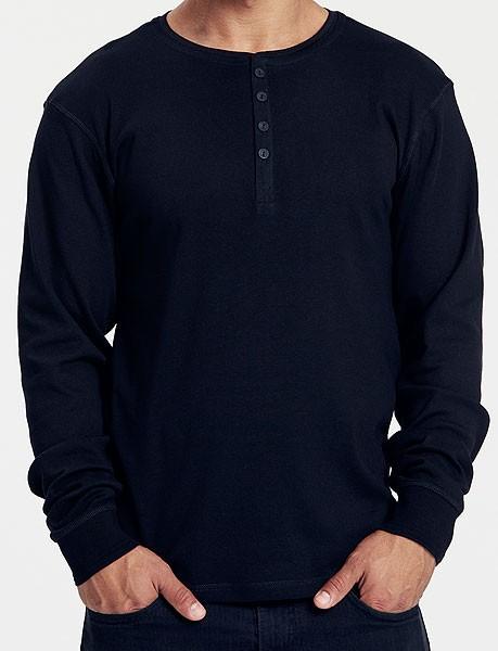 Organic Long Sleeve Granddad T-Shirt Fairtrade schwarz - Bild 1