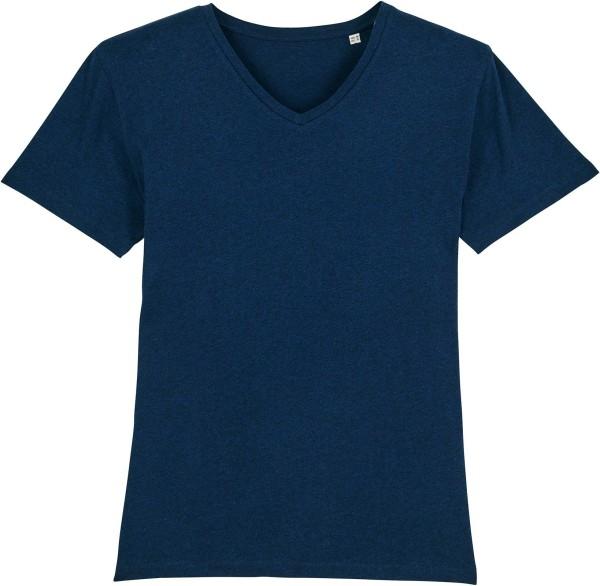 T-Shirt mit V-Ausschnitt aus Bio-Baumwolle - black heather blue