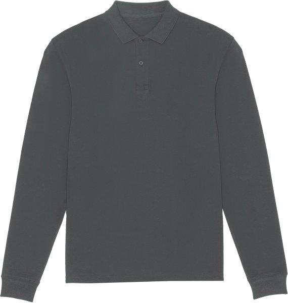 Langarm-Piqué-Poloshirt aus Bio-Baumwolle - anthracite
