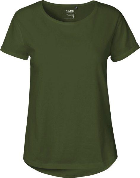 Roll Up Sleeve T-Shirt aus Fairtrade Bio-Baumwolle - military