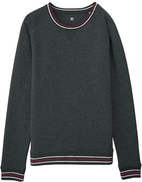 Sweatshirt mit Kontrastbündchen Bio-Baumwolle - dunkelgrau meliert