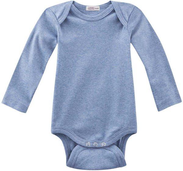Baby Langarm-Body aus Bio-Baumwolle - blue melange