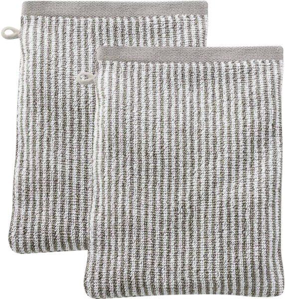 Doppelpack Waschhandschuhe Biobaumwolle 22x16 cm kaschmir/natur