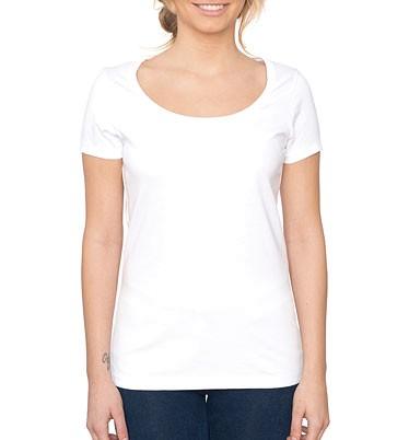Ellie - T-Shirt aus Tencel mit weitem Halsausschnitt-weiss - Bild 1