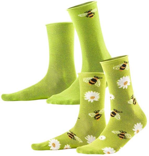 Damen Strümpfe aus Bio-Baumwolle - 2er-Pack - green