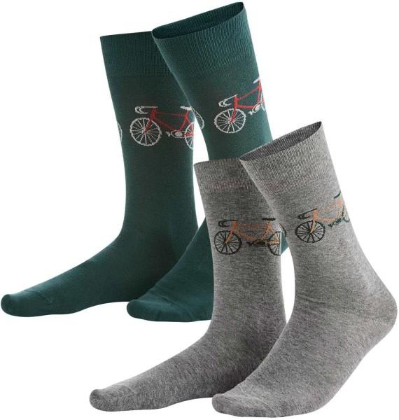 Herren Socken aus Bio-Baumwolle – 2er-Pack – dark forest/stone grey melange