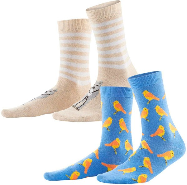 Damen Socken aus Bio-Baumwolle – 2er-Pack - cobalt/candy