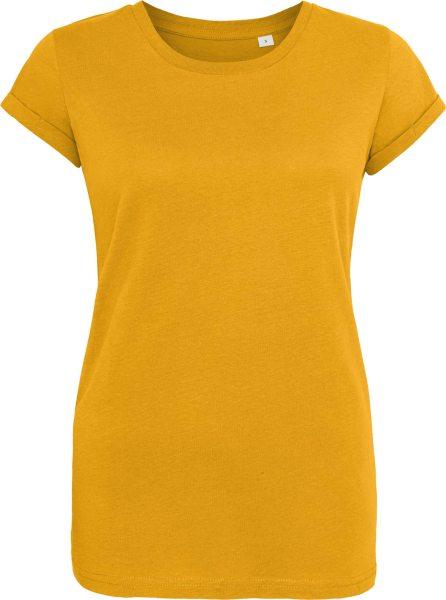Organic Roll Sleeve T-Shirt - mustard
