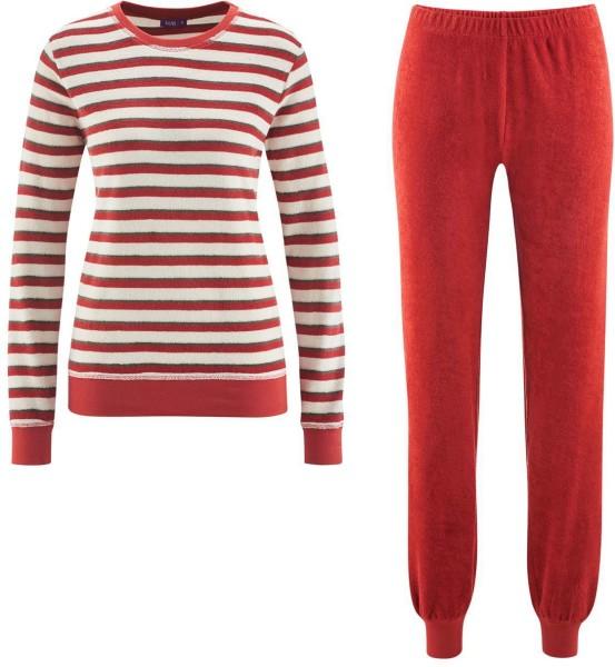 Schlafanzug Frauen rot gestreift Biobaumwolle 5377