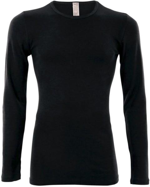 Langarm-Hemd - Wolle/Seide schwarz