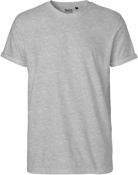 Roll Up Sleeve T-Shirt aus Fairtrade Bio-Baumwolle - grau-meliert