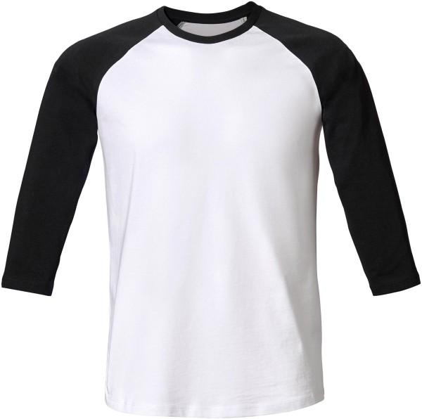 Baseball - Retro-Shirt aus Biobaumwolle - weiss/schwarz