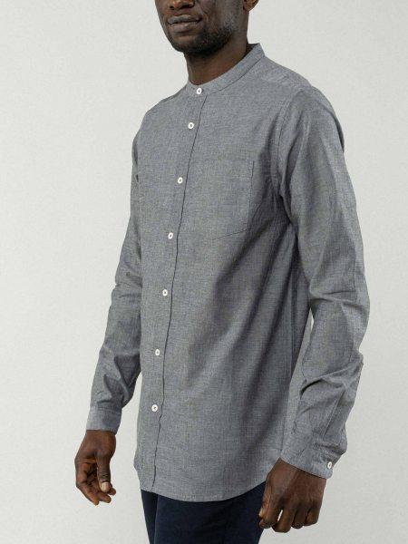 Fairtrade Hemd Amit aus Bio-Baumwolle - grau-melange