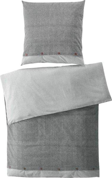 Flanell-Bettwäsche-Set - Bio-Baumwolle 135x200cm - grau