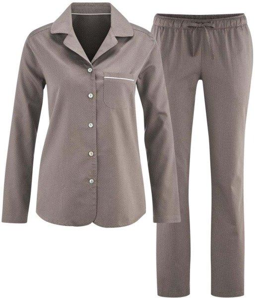 Schlafanzug aus Bio-Baumwolle - taupe/dots