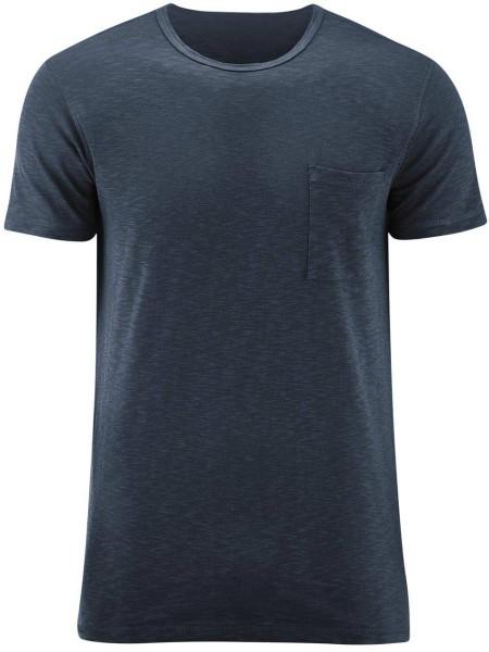 T-Shirt mit Brusttasche aus Biobaumwolle - dark navy