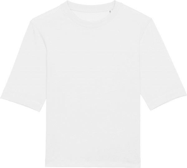 Boxy T-Shirt aus schwerem Stoff aus Bio-Baumwolle - white