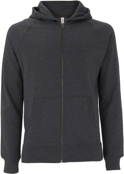 Recycled Unisex Zip-Hoodie Baumwolle und Polyester melange black - Bild 1