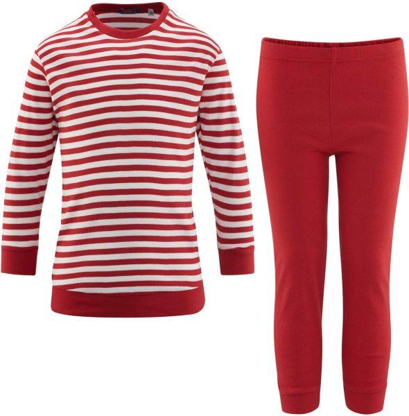 Kinder Schlafanzug Bio-Baumwolle – poppy/white