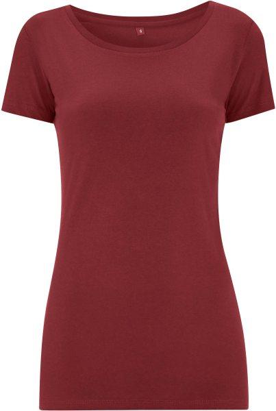 Regular Fit T-Shirt mit weitem Halsausschnitt - burgundy