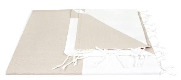 Hamam-/Saunatuch aus Bio-Baumwolle - 70x170 beige/weiss - Bild 1