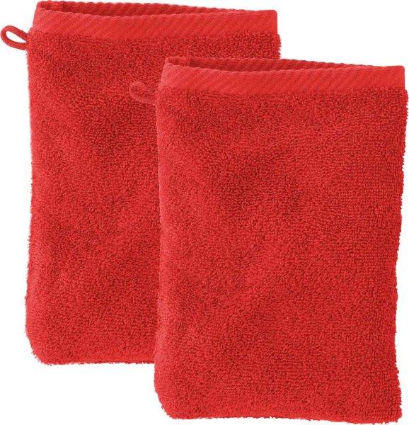 Doppelpack Waschhandschuhe aus Bio-Baumwolle - red clay