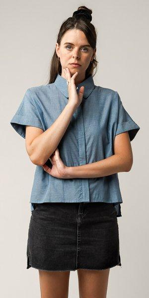 Fairtrade Bluse Nilay aus Bio-Baumwolle - blau chambray