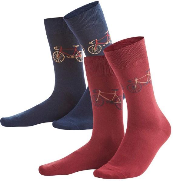 Herren Socken aus Bio-Baumwolle – 2er-Pack – navy/rosso
