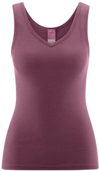 Hemd ohne Arm mit V-Ausschnitt - Biobaumwolle dark rose - Bild 1
