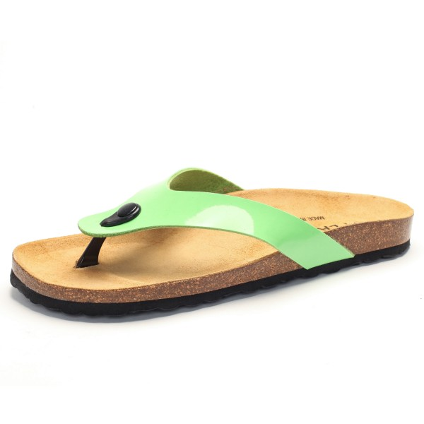 Zehensandale grün Lack Riemen 101201