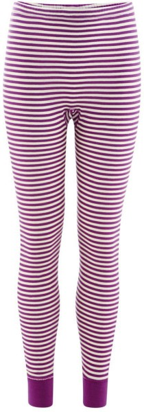 Kinder Lange Unterhose Biobaumwolle - purple/natural striped - Bild 1